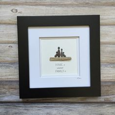 Pebble Art, Family Art, Stone Art, Pebble Art Picture, Cottage decor, Farmhouse decor, Gift for mom, Gift for wife, Framed wall art