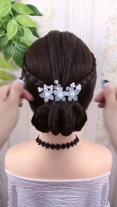 Bun Hairstyles For Long Hair, Easy Hairstyles For Long Hair, Beautiful Hairstyles, Party Hairstyles, Anime Hairstyles, School Hairstyles, Hairstyle Braid, Braided Hairstyles Updo, Braid Updo Styles