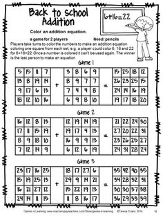 NO PREP math game from Back to School Math Games Fourth Grade by Games 4 Learning - 14 printable games that review a variety of third grade skills.$
