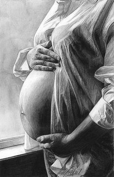 """The Miracle"" by Robb Scott, female pregnancy pencil drawing"