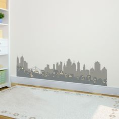 Layered City Skyline Silhouette with City Lights - Vinyl Wall Art Decal for Homes, Offices, Kids Rooms, Nurseries, Schools, High Schools, Colleges, Universities