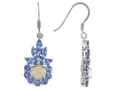 Ethiopian Opal 1.10ctw With 4.05ctw Tanzanite Sterling Silver Earrings