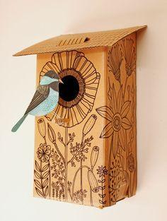 DIY Cardboard bird house / http://www.amazon.com/Kikkerland-BH04-Foldable-Cardboard-Birdhouse/dp/B002OE38YU/ref=sr_1_2?ie=UTF8=1362612720=8-2=cardboard+birdhouse