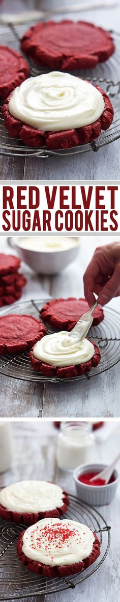 Make these yummy Red Velvet Sugar Cookies for Valentine's Day! See 25 of the best red velvet dessert recipes on www.prettymyparty.com.