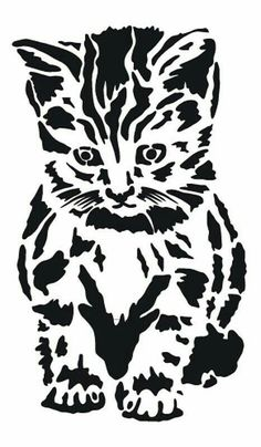 Textile / Wall Stencil Template ca. Animal Stencil, Stencil Art, Stenciling, Drawing Stencils, Stencil Printing, Silhouette Portrait, Silhouette Design, Cat Silhouette, Wood Burning Patterns