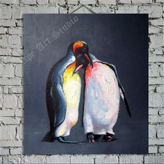 Penguin lover oil painting on canvas by Ape Art by ApeArtStudio