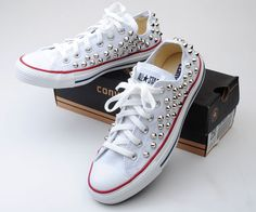 88450d0a4ab Custom Genuine Low White Converse Silver Spike Stud Punk Style Fashion  Sneaker | eBay White Converse