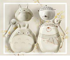 New ceramic children's tableware hand-painted cartoon bowl dish set cute salad bowl spoon baby tableware set plate #Affiliate