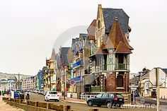 Romantic houses on the boulevard of Mers-les-Bains. Mers-les-Bains is adjacent to Le Tréport, a fishing village in the Haute-Normandie region.