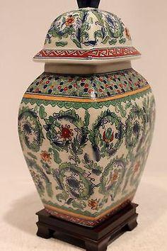 "Summer Time Oriental Jar Porcelain Table Lamp 25"""