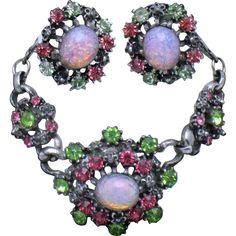 CORO Rhinestone Moonstone Fire Opal Vintage Necklace Earring SET Orig Box