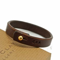 Personalised Stamped Leather Bracelet by Sally Clay, the perfect gift for Explore more unique gifts in our curated marketplace. Diy Leather Bracelet, Leather Cuffs, Leather Tooling, Leather Jewelry, Leather Men, Metal Jewelry, Bullet Jewelry, Bracelet Men, Geek Jewelry
