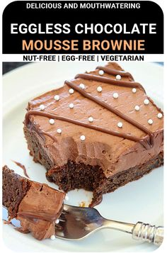 Do you have a sweet tooth or a ravenous appetite? Then these delicious Eggless Chocolate Mousse Brownie is the right choice for you! These creamy and moist brownies have an enticing appeal to them and they can draw even the most rigid dieters intotheir grasps! #brownie #sweettooth #dessert #Yummy #delicious #chocolate Eggless Desserts, Chocolate Desserts, Vegan Desserts, Easy Desserts, Dessert Recipes, Dairy Free Recipes, Baking Recipes, Moist Brownies, Tea Time Snacks