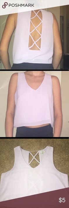 Tobi slightly cropped top Chiffon material, caged back design, lilac purple color, size Medium Tobi Tops Crop Tops