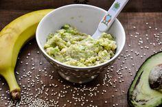 Rezepte für das Kochen und Backen mit Kindern im Familienmagazin HIMBEER: Was Zufüttern? Wie wäre es mit einem Avocado-bananen-Quinoa Brei?