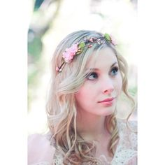 Bridal Hair Crown Flower Crown Floral Wreath Pink Cherry Blossom Pink... (140 BRL) ❤ liked on Polyvore featuring accessories, hair accessories, weddings, white, bridal flower crown, white flower headband, white headband, bridal tiara and floral garland