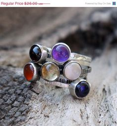 Pick 1 -Thin stacking silver ring - Bezel Cabochon -Mothers Ring, Birthstone Jewelry,