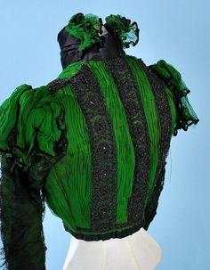 1890 BRILLIANT EMERALD GREEN CHIFFON/JET BEADS PARIS LABELLED VERY FANCY BODICE