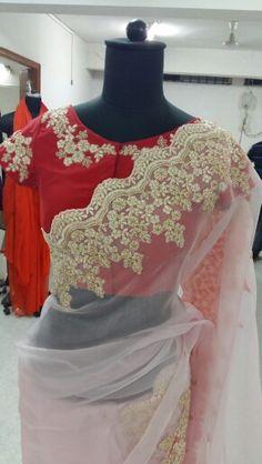 Organza saree with embroider border