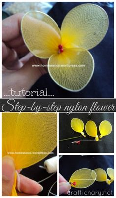Instructions to make nylon flowers #stocking_flowers #nylon_flowers