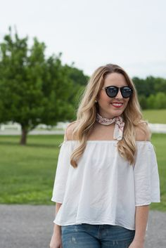 Off The Shoulder Top & Necktie Bandana