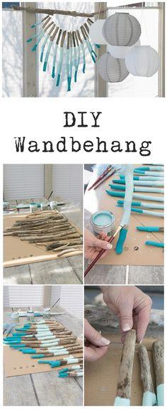 DIY Wandbehang Dekoration aus Ästen Interior Design Living Room, Living Room Designs, Twig Art, Wood Crafts, Diy Crafts, Diy Holz, Kids Wood, Diy Recycle, Seashell Crafts