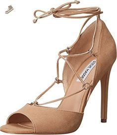 ad0fa3e9bf0 Steve Madden Women s Rayshel Sand Suede Pump M. Laced design with a bow at  the ankle strap. Man-made lining. Man-made outsole.