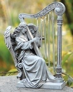 Angel With Harp Figure For Garden Patio Or Home
