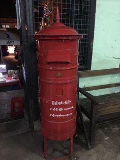 Myanmar post box in the main post office in Yangon.