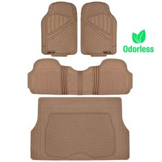 MotorTrend FlexTough Rubber Floor Mats & Cargo Set Beige Heavy Duty BPA Free & Odorless