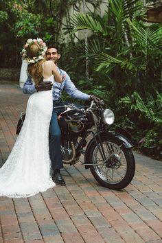 Vintage motorbike | BlueSpark Photography | see more on: http://burnettsboards.com/2014/04/bohemian-villa-inspiration-shoot/