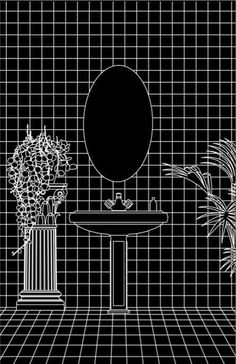 "These Fantastical Architectural Illustrations Are Made Using Autocad,This illustration belongs to the study of a bath made for the cassette art for No Problema Tapes ""The Void"" by the artist Babexo. Image Courtesy of Fabiola Morcillo Asian Architecture, Cultural Architecture, Architecture Drawings, Architecture Diagrams, Architecture Portfolio, Vaporwave, Design Graphique, Les Oeuvres, Planer"
