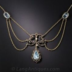 Antique swag necklace, dating from the turn-of-the-century, highlighting three pretty, pastel blue aquamarines: a pear shape center and a pair of matching ovals. Cute Jewelry, Body Jewelry, Jewelry Gifts, Jewelry Accessories, Jewelry Necklaces, Jewelry Box, Handmade Jewelry, Artisan Jewelry, Jewelry Making