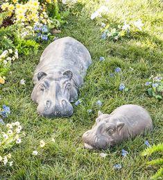 Baby Garden Hippo Sculpture in Garden Statues Garden Animal Statues, Garden Animals, Garden Statues, Garden Sculpture, Backyard Sheds, Backyard Landscaping, Hips And Curves, Ceramic Animals, Clay Animals