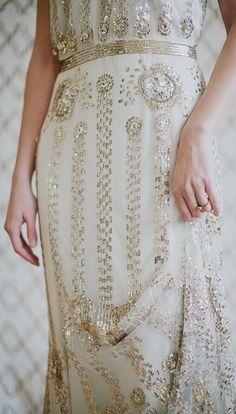 Gold beaded wedding dress