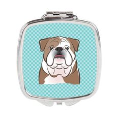 Checkerboard Blue English Bulldog Compact Mirror BB1157SCM
