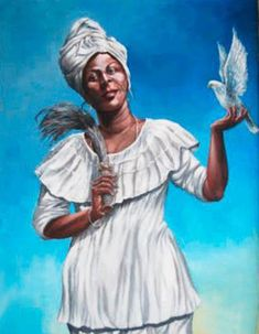 """OBATALA OBANLA Obanla is a feminine way of Obatala and its name means """"the light that appears"""". She is the Eyanla of Ife, wearing Crown and staff of silver, with 3 major crowns minor topped by a dove,. Spiritual Beliefs, Spirituality, White Pigeon, Gray Wedding Colors, Yoruba People, Butterfly Cross Stitch, Indigenous Art, Greek Gods, West Africa"""
