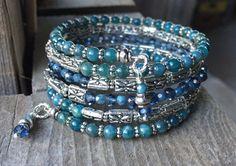Criss Crossed Blues Multi Strand Memory Wire Wrap Bracelet