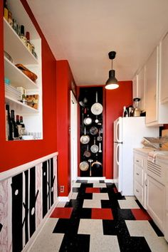 Red, Black, And White Kitchen / HOLLYWOOD Project - Jamie B Interiors