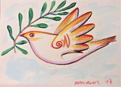 Milionis - Mythical Bird - Original Signed Colored Drawing  on Paper Greek Art #Modernism