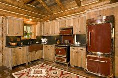 copper refridgerator, range oven with range hood ~ lost creek kitchen, teton builders