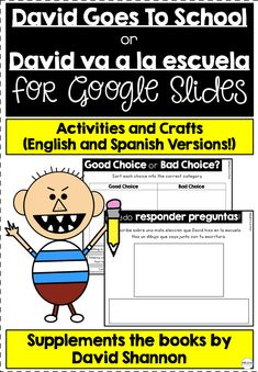 This resource includes 31 slides that supplement the book David Goes To School and David va a la escuela by David Shannon. Comprehension questions, a reading response, and a craft are included. Writing Resources, Learning Resources, Teacher Resources, French Resources, David Shannon, Creative Teaching, Teaching Ideas, Reading Response, Literacy Stations