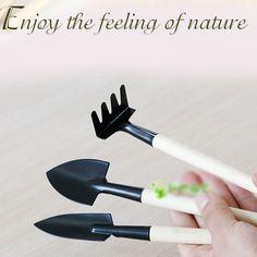 New Arrival 3pcs/set  Mini Garden Plant Tool Set With Wooden Handle Gardening Tool Shovel Rake