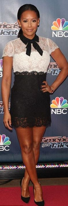Who made Mel B's black and white lace short sleeve dress? (OutfitID)