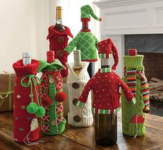 Upcycle Sweaters Into Christmas Wine Bottle Covers Christmas Wine Bottles, Wine Bottle Covers, Wine Decor, Wine Bottle Crafts, Christmas Crafts, Christmas Outfits, Diy Crafts, Holiday Decor, Christmas Decorations