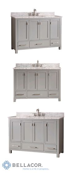 The Modero 48-Inch vanity has a simple clean design with a chic chilled gray finish and brushed nickel hardware. The vanity combo includes soft close doors, a Carrera white marble top and white vitreous china undermount sink. http://www.bellacor.com/productdetail/avanity-modero-vs48-cg-c-modero-chilled-gray-48-inch-vanity-combo-with-white-carrera-marble-t-1570501.htm?partid=social_pinterestad_1570501_collage