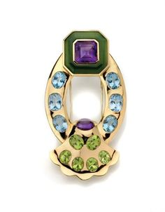Gold, Amethyst, Peridot, Blue Stone and Nephrite Clip-Brooch, Chanel   18 kt., signed Chanel, # 18E 115, with maker's mark & French assay mark, ap. 23.5 dwt.