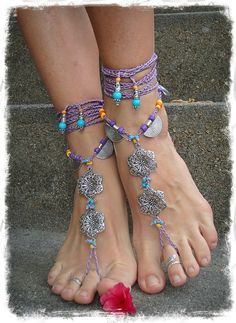GYPSY purple BAREFOOT Sandals Anklets Crochet SANDALS Wedding Barefoot Sandals sole less shoes Foot Jewelry antique flowers via Etsy