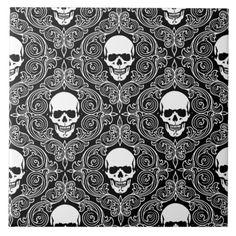 Shop Floral Skull Ceramic Tile created by myshirz. Skull Wallpaper, Home Wallpaper, Halloween 2018, Halloween Ideas, Skull Carpet, Metal Skull, Gothic Aesthetic, Holiday Wallpaper, Floral Skull