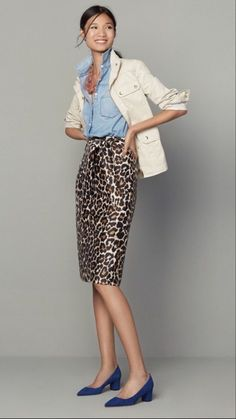 leopard skirt outfit over 50 Skirt Outfits, Fall Outfits, Casual Outfits, Fashion Outfits, Womens Fashion, J Crew Outfits, Fashion Quiz, Converse Outfits, Petite Fashion
